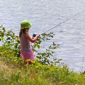 Pretty in pink girk fishing